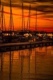 Красочный заход солнца Нормана озера Стоковое фото RF