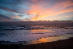 Красочный заход солнца, Ano Nuevo Стоковое Изображение RF