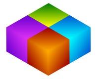 Красочный значок куба Современные, яркие родовой значок/штабелированный логотип w Стоковое Фото
