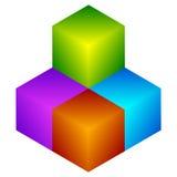 Красочный значок куба Современные, яркие родовой значок/штабелированный логотип w иллюстрация штока