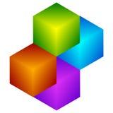 Красочный значок куба Современные, яркие родовой значок/штабелированный логотип w Стоковая Фотография