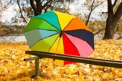 Красочный зонтик лежа на желтых листьях Стоковая Фотография RF