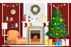 Красочный дизайн интерьера комнаты рождества вектора с камином иллюстрация вектора