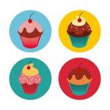 Красочный дизайн пирожных иллюстрация вектора