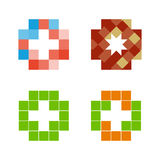 Красочный изолированный логотип креста мозаики Элемент плитки религиозный знак медицинский символ Эмблема машины скорой помощи бо Стоковое Изображение