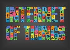 Красочный интернет характеров вещей говоря слово по буквам с значками Стоковые Изображения RF