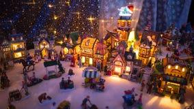 Красочный дисплей ночи городка рождества Стоковое Изображение RF