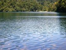Красочный и живой ландшафт берега озера Спокойный ландшафт полезный как предпосылка Понизьте каньон озер Озера Plitvice националь Стоковое фото RF