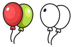 Красочный и черно-белый воздушный шар Стоковые Изображения RF