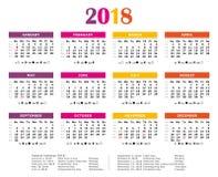 Красочный каждогодный календарь 2018 Стоковое Изображение