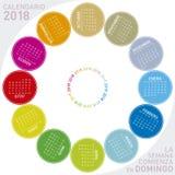 Красочный календарь на 2018 в испанском языке Круговой дизайн Стоковое Изображение RF