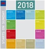 Красочный календарь на год 2018, в английском Стоковое Изображение