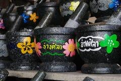 Красочный каменный миномет на рынке Ang Sila Стоковое Фото