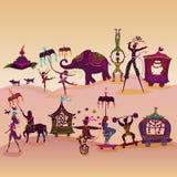 Красочный караван цирка на дороге бесплатная иллюстрация
