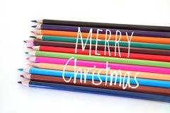 Красочный карандаш цвета в концепции веселого Cristmas Стоковое фото RF