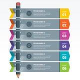 Красочный карандаш Infographics элементов образования Стоковое фото RF