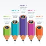 Красочный карандаш Infographics элементов образования Стоковые Фотографии RF