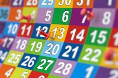 Красочный календарь месяца с красными штырями Иллюстрация с мягким fo Стоковое Изображение RF