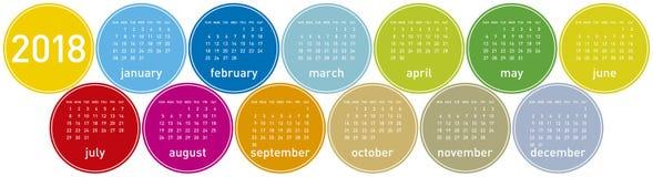 Красочный календарь на год 2018, неделя начинает в воскресенье Стоковое Изображение RF