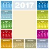 Красочный календарь на год 2017 Стоковое фото RF