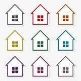 Красочный комплект значка домов иллюстрация штока