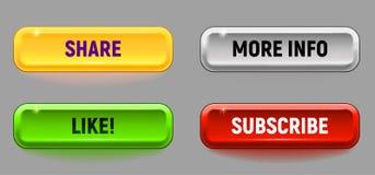 Красочный комплект кнопки вектора бесплатная иллюстрация