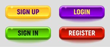 Красочный комплект кнопки вектора иллюстрация штока