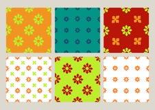 Красочный комплект безшовных предпосылок года сбора винограда цветочных узоров Стоковые Изображения