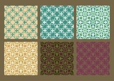 Красочный комплект безшовных предпосылок года сбора винограда цветочных узоров Стоковые Фото