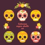 Красочный комплект вектора черепов Стоковые Изображения