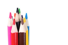 Красочный комплект деревянных crayons карандаша Стоковое фото RF