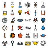 Красочный комплект значка науки, вектор Стоковое Фото