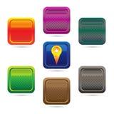 Красочный комплект кнопок сети голубых на белой предпосылке Стоковое Изображение RF