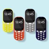Красочный комплект мобильных телефонов на предпосылке также вектор иллюстрации притяжки corel Стоковое фото RF