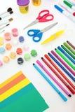 Красочный комплект художнических инструментов Стоковое Изображение RF
