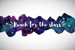 Красочный космос акварели, граница галактики, цитата мотивировки Стоковое Фото