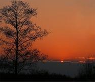 Красочный красный заход солнца Стоковая Фотография RF