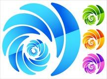 Красочный, круговой похожий на спирал элемент в 4 ярких цветах бесплатная иллюстрация