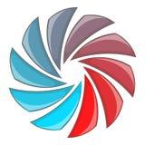 Красочный круговой спиральный значок, стиль шаржа иллюстрация вектора