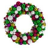 Красочный круглый венок пришествия рождества/изолированный Стоковые Изображения RF