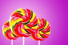 Красочный круглый леденец на палочке формы Стоковое Изображение