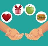 Красочный крупный план плаката вручает держать подарки здоровые еды Стоковое Изображение
