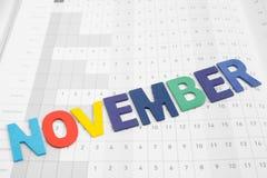 Красочный месяц в ноябре на бумаге календаря Стоковые Изображения RF
