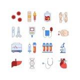 Красочный медицинский комплект значка сделанный в линии стиле Кровь вектора и pictorgam испытаний сердца Стоковая Фотография RF