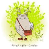 Красочный милый изверг с сумкой, почтальон леса иллюстрация вектора