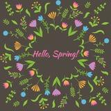 Красочный милый флористический комплект с листьями и цветками Стоковая Фотография