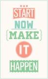 Красочный мотивационный плакат Начните теперь сделать его случиться Стоковые Фото