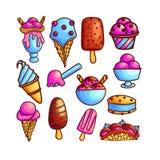 Красочный набор значков мороженого стоковое изображение rf