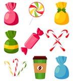 Красочный набор конфеты мультфильма иллюстрация вектора