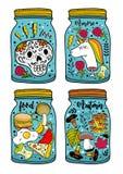 Красочный набор стеклянных опарников и чудовищ бесплатная иллюстрация